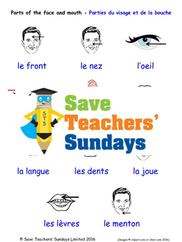 Parts of the Face in French Worksheets, Games, Activities
