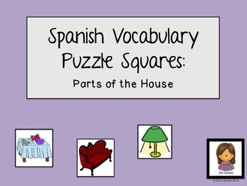 Parts of the House Spanish Vocabulary Magic Square Puzzle