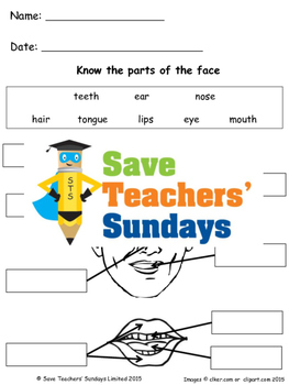 Parts of the face lesson plan and worksheets (2 levels of