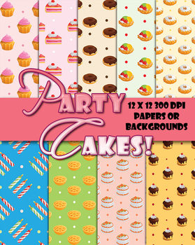 Party Cakes Papers & Patterns • Decorations or Cards• 12 x