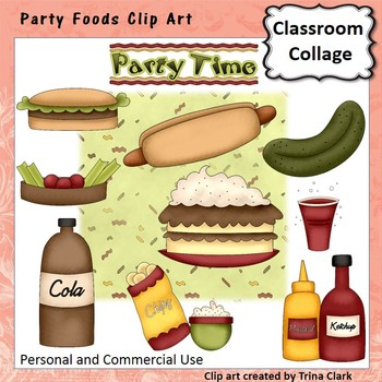 Party Foods Clip Art - Color - personal & commercial use