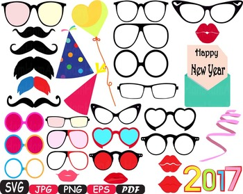 Party Photo Booth Prop Emoji Props Happy new year SVG face