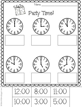 Party Time! Telling Time to the Hour Printables [Freebie]