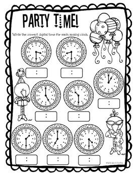 Party Time! - Telling Time to the Hour and Half Hour
