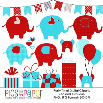 Party Time with Elephants- Red and Turquoise- Digital Clip Arts