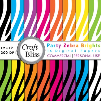 Party Zebra Brights Digital Paper Pack Commercial Use Pers