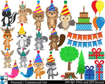 Party animals in forest ClipArt Personal, Commercial Use 8