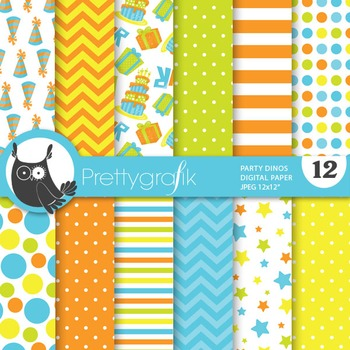 Party dinosaur digital paper, commercial use, scrapbook pa