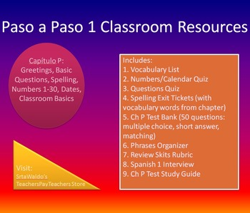 Paso a Paso 1 Ch P Greetings Dates Classroom Resources