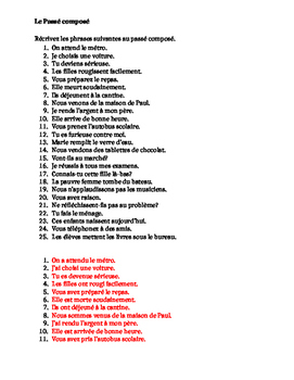 Passé Composé ALL verbs French worksheet 4