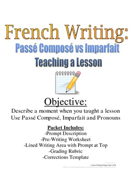 Passe Compose, Imparfait Writing Prompt for French: Rubric