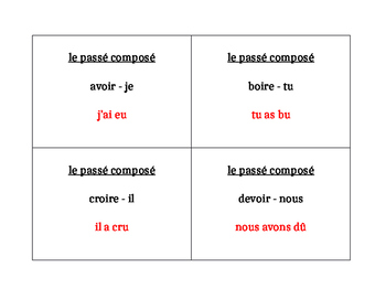 Passé composé of Irregular verbs Question Question Pass activity
