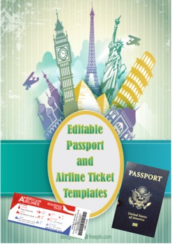 Passport and Airline Ticket template- Editable