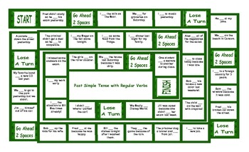 Past Simple Tense With Regular Verbs Board Game