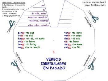 Past Tense. Regular and Irregular Verbs. Verb Wheels. PDF