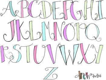 Pastel Alphabet Digital Clip Art (lowercase and uppercase
