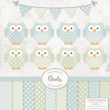 Pastel Boys Owl Vectors & Papers - Owl Clipart, Owl Clip A
