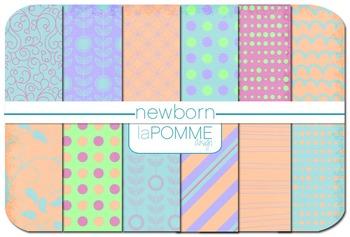 Pastel Calm Spring Patterned Digital Paper Pack Orange Blu