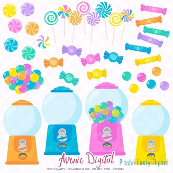 Pastel Candy Shop Clipart Scrapbook Commercial Use. Sweets