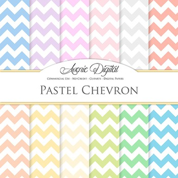 Pastel Chevron Digital Paper patterns soft zig zag lines s