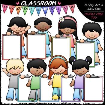 Pastel Clipboard Kids Clip Art - Kids With Clipboareds Cli