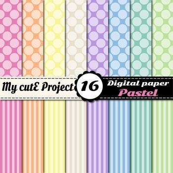 Pastel DIGITAL PAPER Big Polka dots & stripes - Scrapbooki