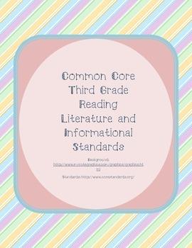 Pastel Diagonal Striped Third Grade Reading Standards