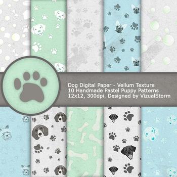 Dog Digital Paper, 10 Printable Pastel Pet Patterns - Paw
