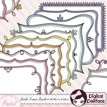 Pastel Doodle Frames Bundle / Page Borders