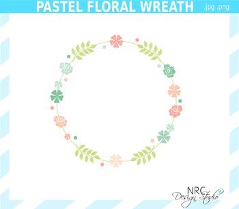 Pastel Floral Wreath Clip Art - Commercial Use Clipart