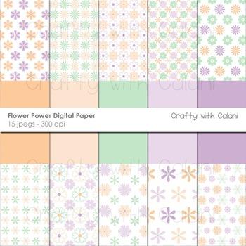 Pastel Flower Pattern Digital Paper Set in Peach, Purple a