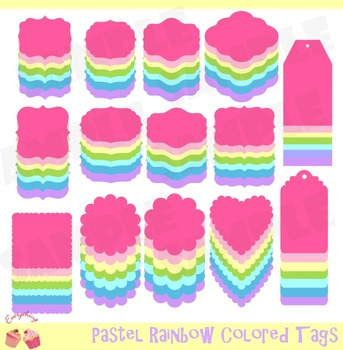 Pastel Frames and Tags Clipart Set