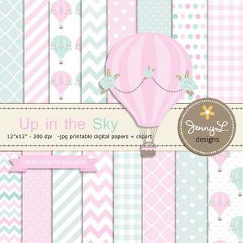 SET: Pastel Hot Air Balloons Digital papers and Clipart