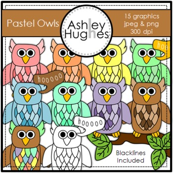 Pastel Owls {Graphics for Commercial Use}