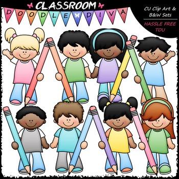 Pastel Pencil Kids Clip Art - Kids With Pencils Clip Art &
