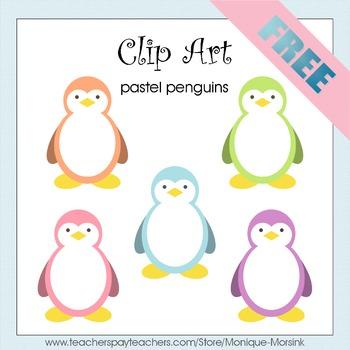 Pastel Penguins - Clip Art - Freebie