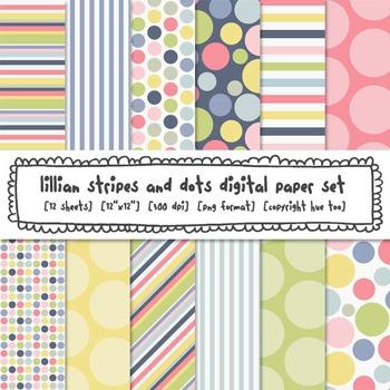 Pastel Polka Dots and Stripes Digital Backgrounds, Pink, B