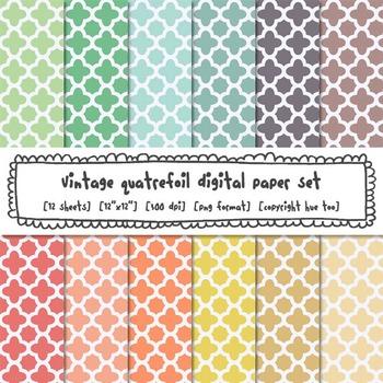 Pastel Quatrefoil Digital Paper Set, Trellis Digital Backgrounds