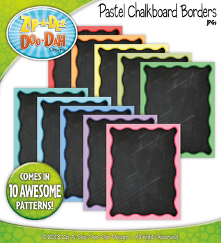 Pastel Rainbow Chalkboard Borders  — 10 Colorful Graphics!