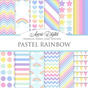 Pastel Rainbow Digital Paper Pattern Background Sky multic