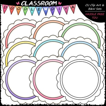 Pastel Scalloped Circles Clip Art - Message Boards - Frame