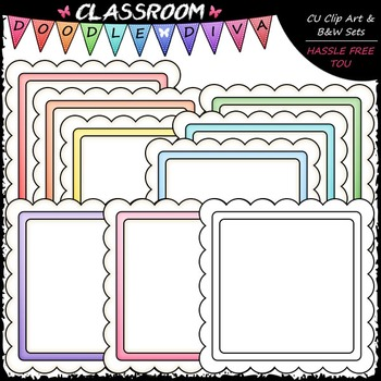 Pastel Scalloped Squares Clip Art - Message Boards - Frame