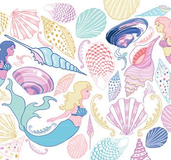 Pastel Sea Shells & Mermaids Clip Art, mermaid clipart, se
