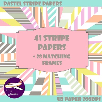 Pastel Striped Digital Papers and Frames for Work Books, C
