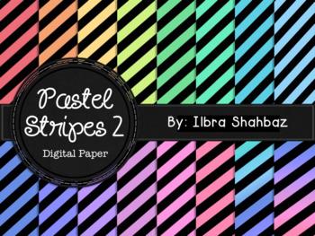 Pastel Stripes 2 Digital Paper Backgrounds