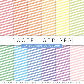 Pastel Stripes Digital Paper, scrapbook backgrounds