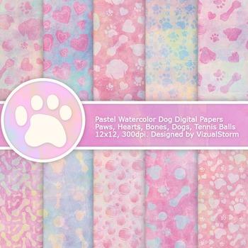 Pastel Watercolor Paw Prints Digital Paper, 10 Handmade Do