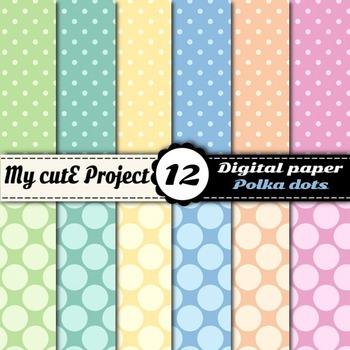 """Pastel polka dots - DIGITAL PAPER - Scrapbooking- A4 & 12x12"""""""
