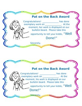 Pat on the Back Award