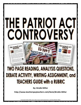 Patriot Act Controversy - Reading, Questions, Debate Activ